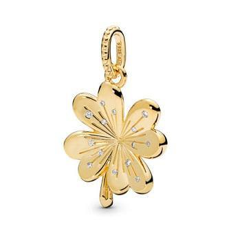 PANDORA SHINE LUCKY FOUR-LEAF CLOVER CZ DANGLE