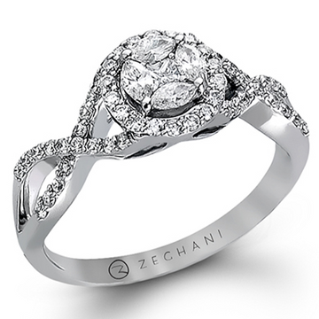 ZEGHANI 14K WHITE GOLD CLUSTER DIAMOND HALO ENGAGEMENT RING