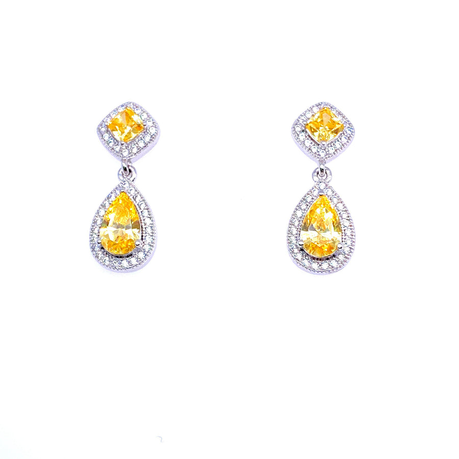 SILVER DROP EARRING WITH YELLOW CUBIC ZIRCONIA