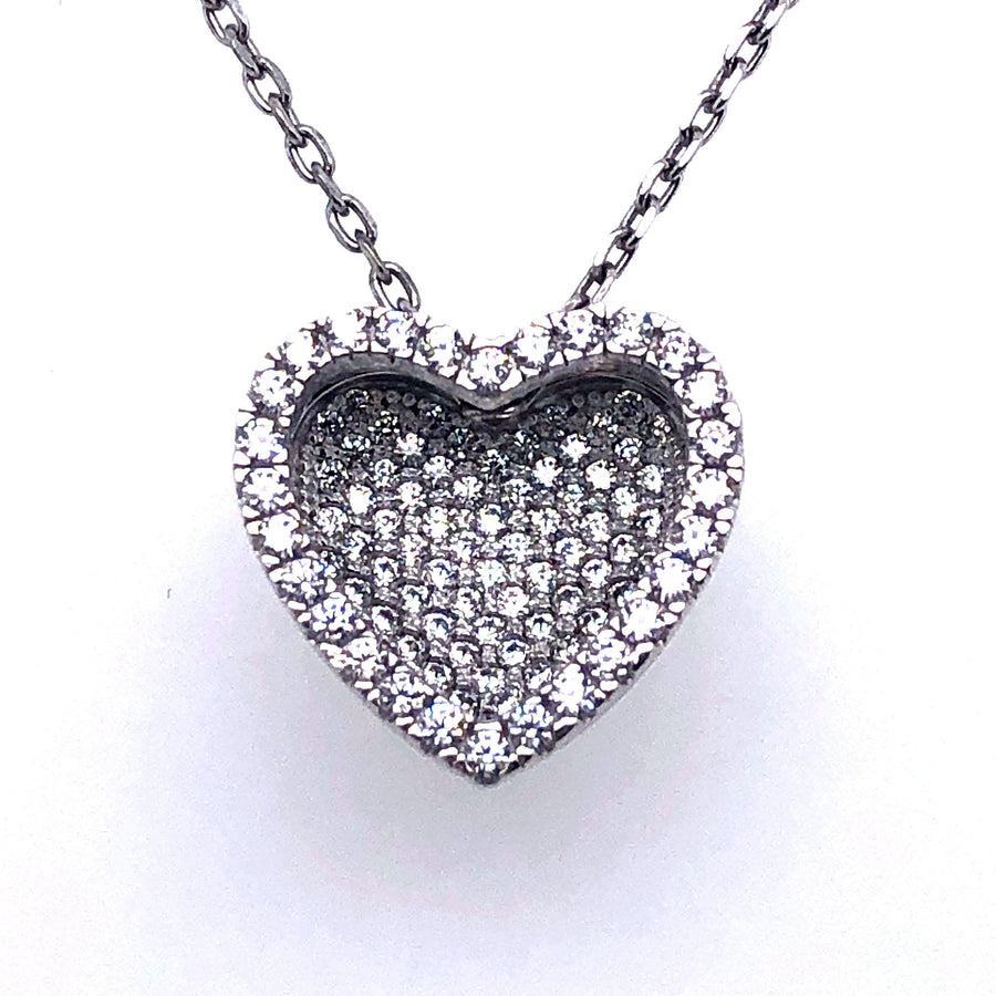 SILVER FANCY CZ MICROPAVE HEART SLIDER NECKLACE