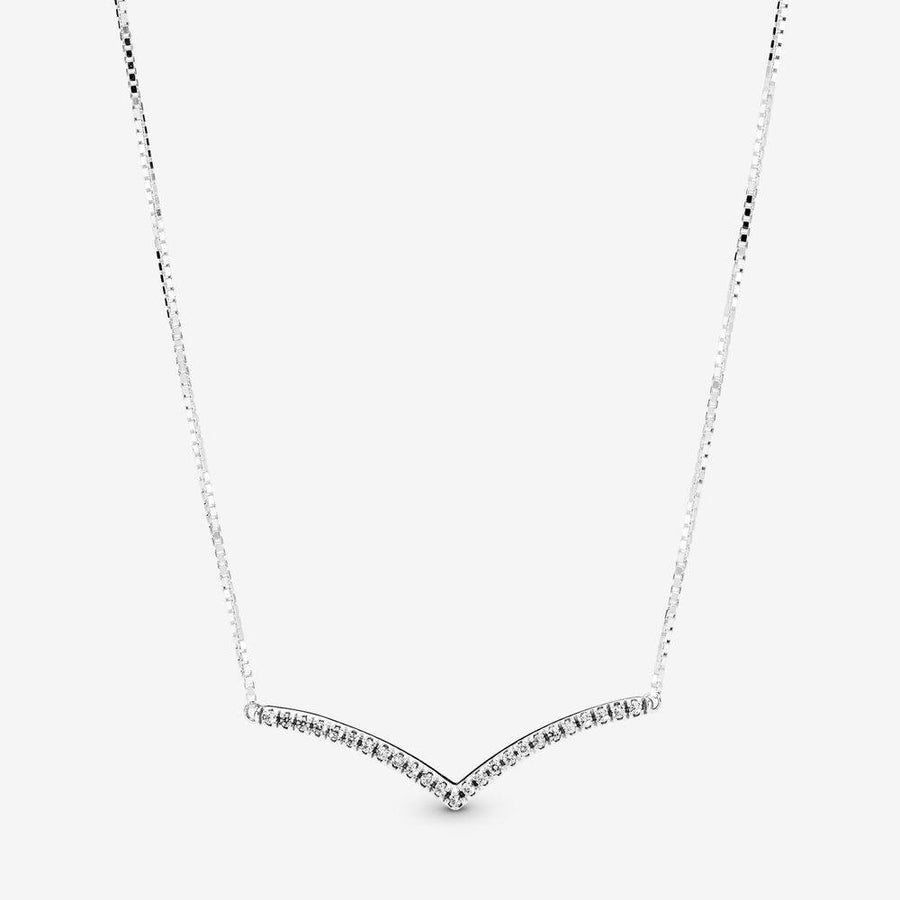 PANDORA SPARKLING WISHBONE NECKLACE