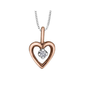 FOREVER JEWELLERY 10K ROSE AND WHITE GOLD DIAMOND HEART NECKLACE