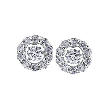 PULSE DIAMOND EARRINGS WITH DIAMOND HALO