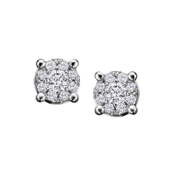 FOREVER JEWELLERY 10K WHITE GOLD DIAMOND STUD EARRINGS