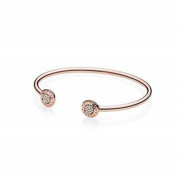 PANDORA ROSE 14K RGP  7.5'' OPEN BANGLE W/CZ