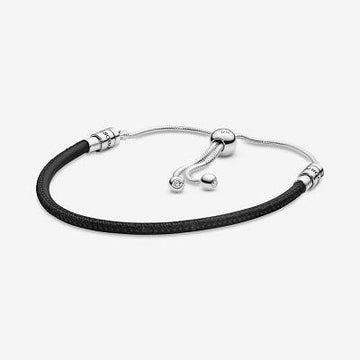 PANDORA  BRACELET BLACK MOMENTS SLIDING LEATHER