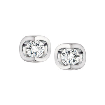 FOREVER JEWELLERY 10K WHITE GOLD DIAMOND EARRINGS