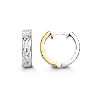 10K WHITE & YELLOW GOLD DIAMOND CUT HUGGIE EARRINGS