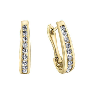 FOREVER JEWELLERY 10K YELLOW GOLD DIAMOND HUGGIE EARRINGS