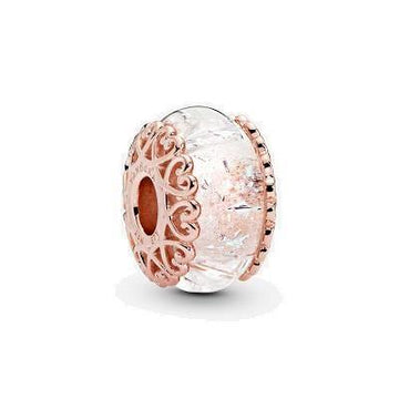PANDORA ROSE  RGP IRIDESCENT WHITE GLASS BEAD