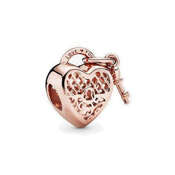 PANDORA ROSE S/&14K RGP LOVE YOU LOCK BEAD