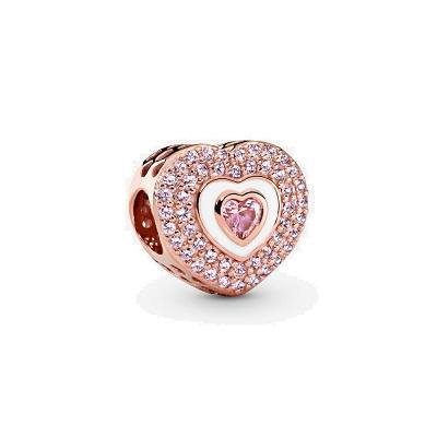 PANDORA ROSE PINK HEART WITH PINK CRYSTALS