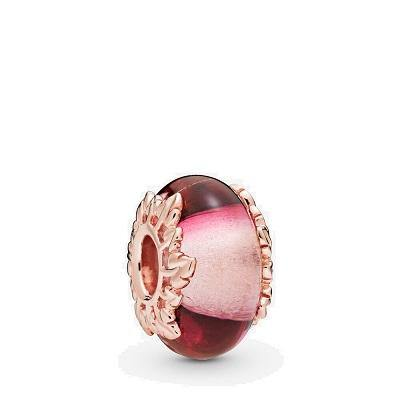 PANDORA ROSE  RGP PINK MURANO GLASS & LEAVES BEAD