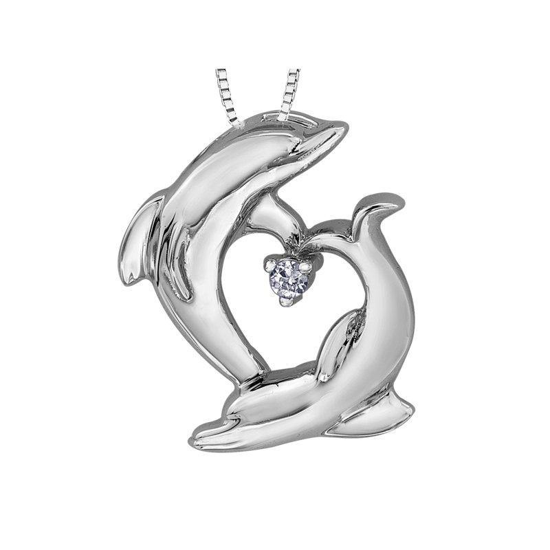 FOREVER JEWELLERY 10K WHITE GOLD DIAMOND DOLPHINS NECKLACE