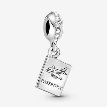 PANDORA  ADVENTURE AWAITS PASSPORT CZ DANGLE