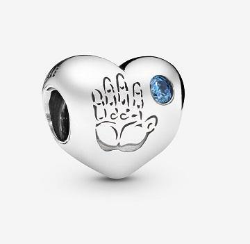 PANDORA  BABY BOY HANDPRINT BLUE CZ HEART