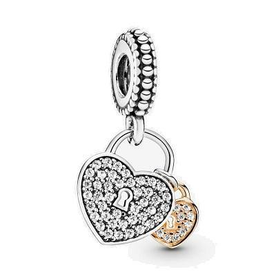 PANDORA  LOVE LOCKS CZ DANGLE BEAD