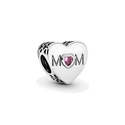 PANDORA  MOTHER HEART PINK CZ BEAD