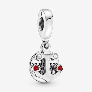PANDORA  ANCHOR OF LOVE ENAMEL & CRYSTAL PEARL DANGLE