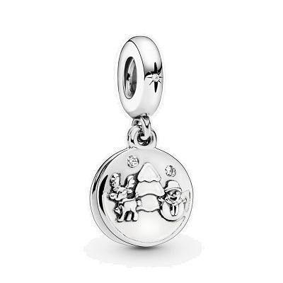 PANDORA PERFECT CHRISTMAS CHARM WITH WHITE ENAMEL DANGLE