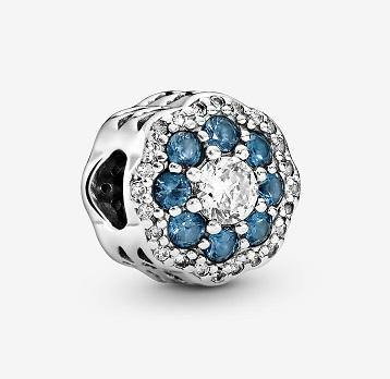 PANDORA  BLUE SPARKLE FLOWER MIXED CZ CHARM