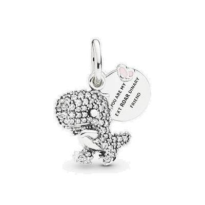 PANDORA  PAVE DINOSAUR PINK ENAMEL CZ DANGLE