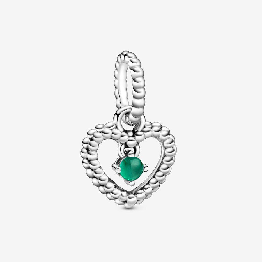 PANDORA HEART WITH RAINFOREST GREEN CRYSTAL CHARM