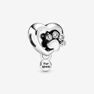PANDORA SPARKLING PAW PRINT AND HEART CHARM