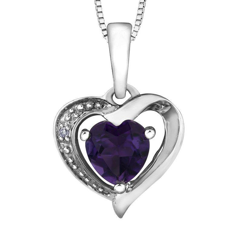 FOREVER JEWELLERY 10K WHITE GOLD HEART AMETHYST NECKLACE