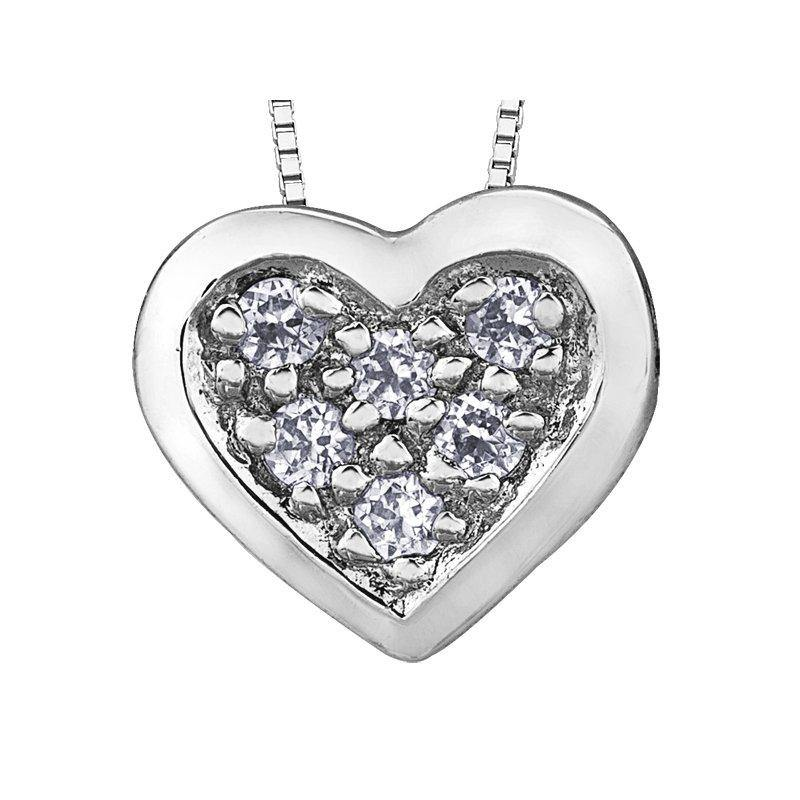 FOREVER JEWELLERY 10K WHITE GOLD DIAMOND FILLED HEART NECKLACE