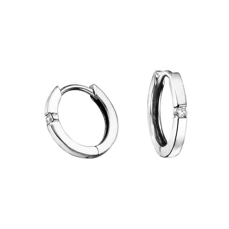 FOREVER JEWELLERY 10K WHITE GOLD DIAMOND HUGGIE EARRINGS