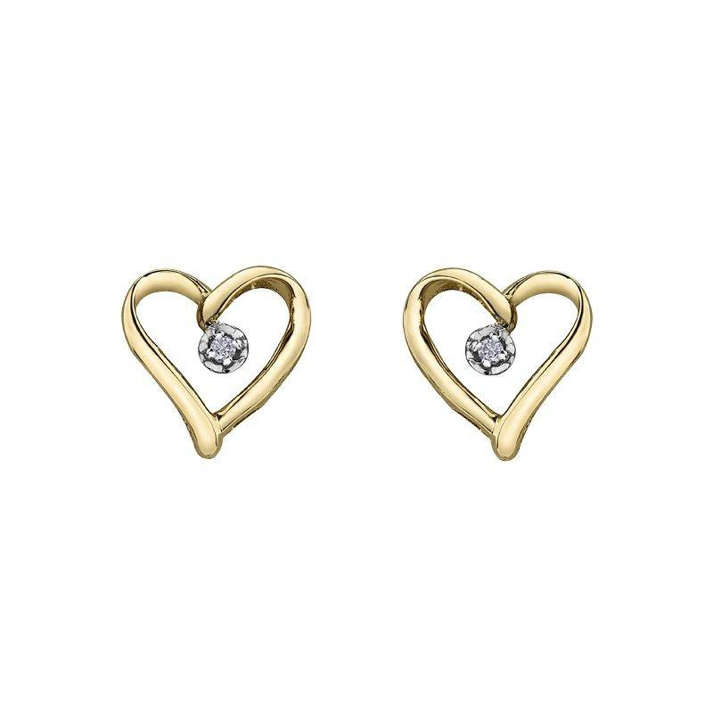 FOREVER JEWELLERY 10K YELLOW GOLD DIAMOND HEART EARRINGS