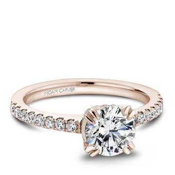 NOAM CARVER ROSE GOLD SOLITAIRE ENGAGEMENT RING B009-01RM-100A