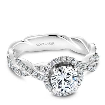 NOAM CARVER HALO ENGAGEMENT RING WITH TWIST BAND B060-01WM-100A - Appelt's Diamonds