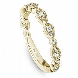 NOAM CARVER WOMEN'S WEDDING BAND IN YELLOW GOLD WITH DIAMONDS AND MILGRAIN