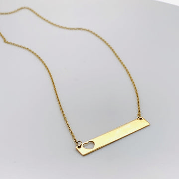 BELLA MONOGRAM 10K GOLD BAR WITH OPEN HEART 16