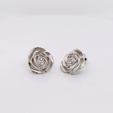 SILVER ROSE BRUSHED STUD EARRINGS
