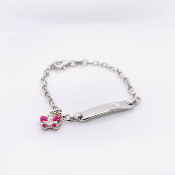 SILVER LADIES ID BUTTERFLY BRACELET