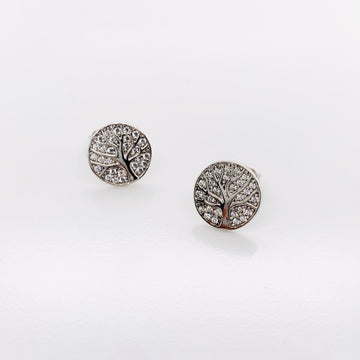 SILVER TREE OF LIFE WITH CZ STUD EARRINGS
