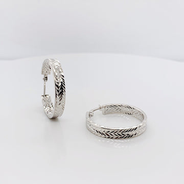 SILVER DIAMOND CUT INSIDE AND OUT HOOP EARRINGS