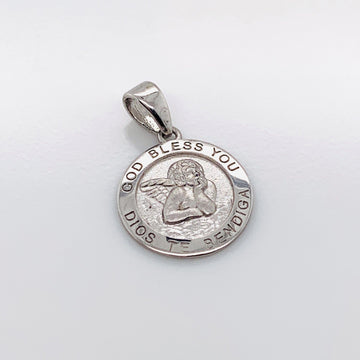 SILVER ROUND ANGEL CHARM PENDANT