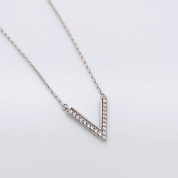 SILVER V WITH CZ NECKLACE
