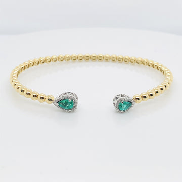 18KYW EMERALD DIAMOND BRACELET