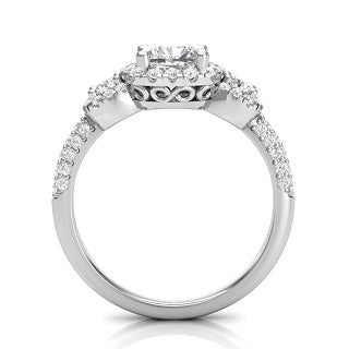PRINCESS THREE-STONE WITH HALO DIAMOND ENGAGEMENT RING L8440-E