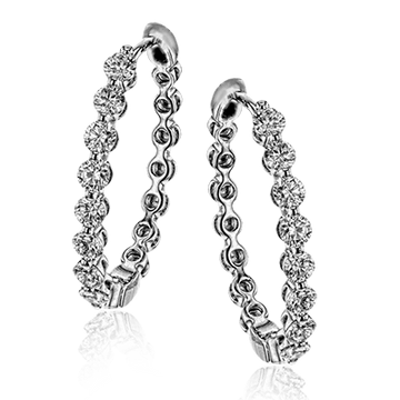 18KW SIMON G WHITE GOLD AND DIAMOND HOOP EARRINGS