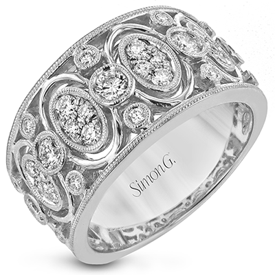 18KW SIMON G WHITE GOLD VINTAGE DIAMOND RING