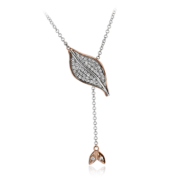 18KWR SIMON G DIAMOND LEAF NECKLACE