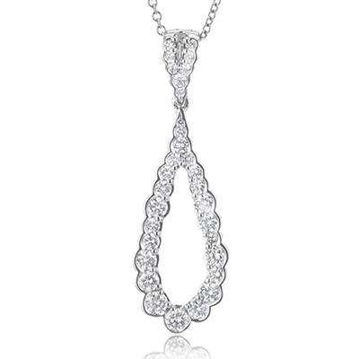 18KW SIMON G DIAMOND TEAR-DROP NECKLACE - LP4613