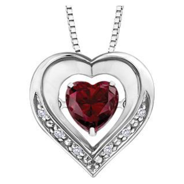 PULSE SILVER RUBY HEART SHAPED NECKLACE