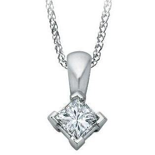 14K WHITE GOLD PRINCESS CANADIAN DIAMOND SOLITAIRE NECKLACE